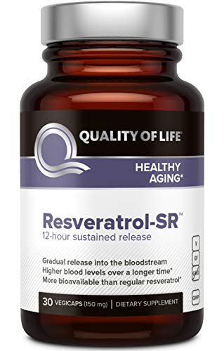 Quality of Life - Powerful Anti Aging - All Natural Formula Resveratrol SR - 30 Vegicaps