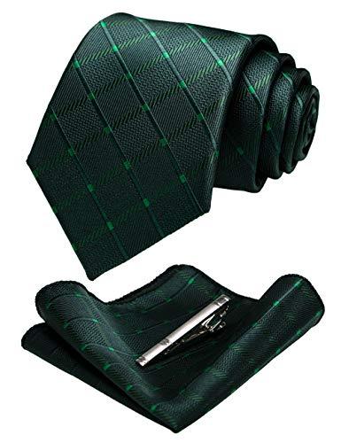 JEMYGINS Cravatta Uomo Scacchi in Diversi Colori con Fazzoletto e Fermacravatta (verde scuro)