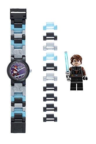 LEGO Star Wars 8020288 Anakin Kinder-Armbanduhr mit Minifigur und Gliederarmband zum Zusammenbauen, grau/blau, Kunststoff, analoge Quarzuhr, Junge/Mädchen, offiziell