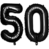 Iwinna 40 Black Number Balloons 50th Jumbo Foil Balloon for Birthday Anniversary Party Decoration