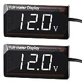 2 Pieces DC 12V Car Digital Voltmeter Gauge LED Display Voltage Meter Waterproof Voltage Gauge Meter for Car Motorcycle (White Light)