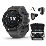 Garmin Fenix 6 Pro Solar Premium Multisport GPS Smartwatch with Included Wearable4U Ultimate Black Earbuds with Charging Power Bank Case Bundle (Black w/Slate Gray Band)