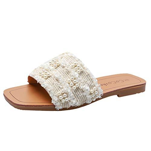 Eaylis Damen Sandalen Offene Zehenschuhe Tragen Vielseitige Perlenverzierungen Sommer Strand Schuhe Hausschuhe Stilvoll und elegant35-41