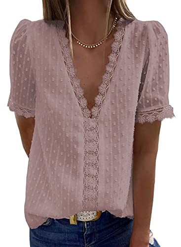 Dokotoo Women's Cute Summer Lace Crochet V Neck Flowy Short Sleeve Shirts for Women Blouses Solid Casual Loose T Shirts Pom Pom Chiffon Tops Pink L