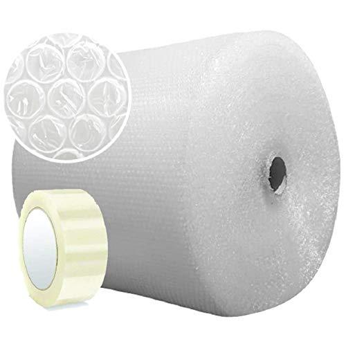 Papel burbujas embalaje 【50 cm de ancho x 100 m lineales + CINTA EMBALAJE 100M】rollo de plastico de triple capa, mayor resistencia y durabilidad, ideal para amortiguar cualquier producto