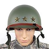 AJIU Casco De Réplica M1 De La Segunda Guerra Mundial De EE. UU, con Interior Y Correa De Barbilla De Lona, Casco De Dos Pisos, Verde Militar