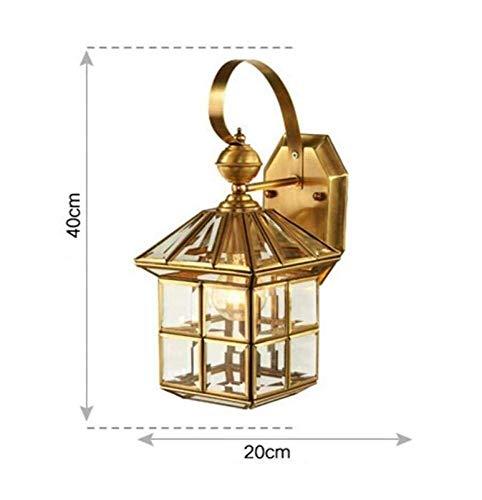 Mkjbd Wandlampen, wandlampen, vintage country, wandlampen, buitenlampen, koperen lampenkap, van glas, goudkleurig, lichte mode, mm