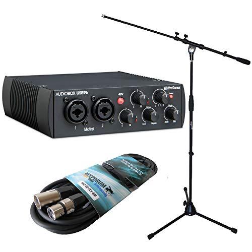 Presonus Audio Box USB 96 Black Interface + Keepdrum MS106 microfono treppiede + cavo XLR da 6 m