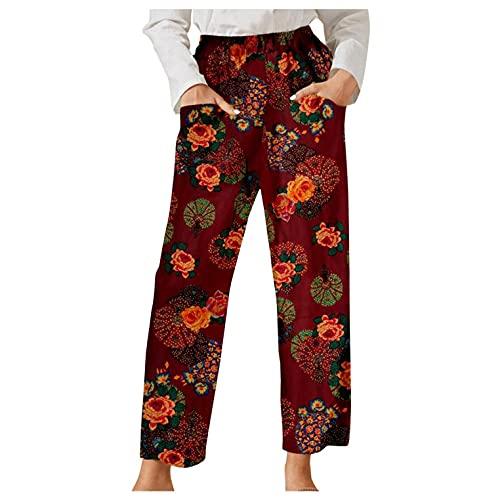 Esque Pantalones Casuales De Mujer con Bolsillos/Vintage/Estampado Floral/Cintura EláStica/Parche/Sport/Casual/De Flores Retro Impreso Bolsillo EláStico/Naranja/M