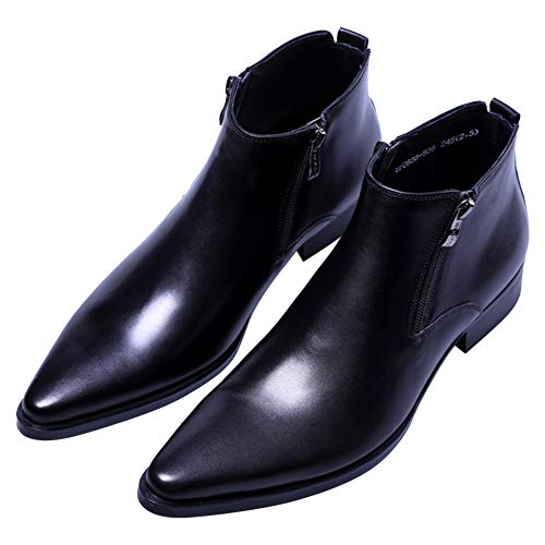 Men's Ankle Genuine Leather Dress Fashion Zipper Pointed Toe Casual Boots Black 9.5 US