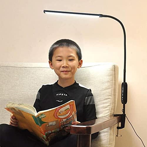 GDEVNSL Luz de Lectura con Abrazadera LED de Alto Rendimiento Regulable con Control Remoto, luz de Lectura de 12 W con Abrazaderas Protección para los Ojos Lámpara de Escritorio Negra Memoria táctil