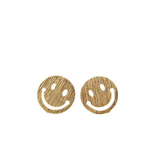 Lustiger Smiley Emoticon Ohrstecker in 18k vergoldet als dezenter Ohrring oder Mitbringsel
