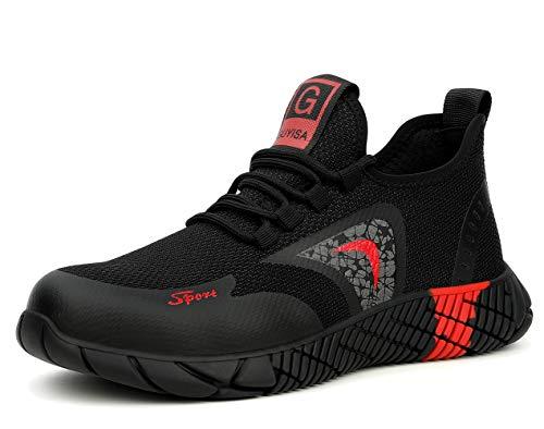 [ブルーポメロ] 安全靴 あんぜん靴 作業靴 メンズ レディース 軽量 通気性 鋼先芯 JIS H級相当 KEVLARミッドソール 耐摩耗 クッション性 オシャレ 9208ブラック 25