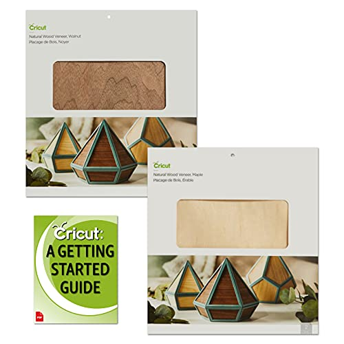 Cricut Natural Wood Veneers Bundle, Walnut and Maple, 12x12