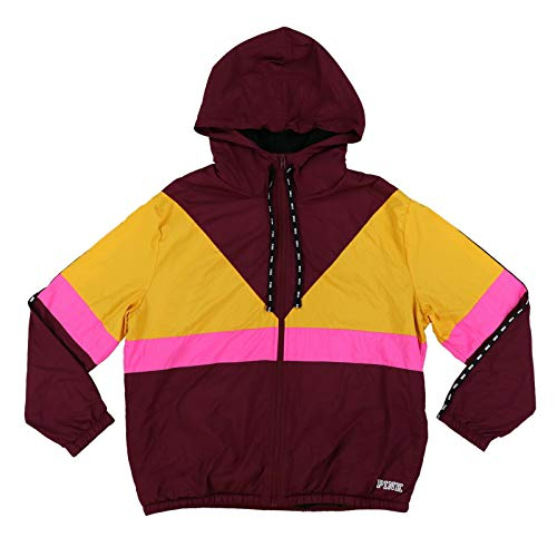 Victoria's Secret Pink Jacket Full Zip Sherpa Lined Colorblock Windbreaker (M/L, Burgundy Yellow Pink)