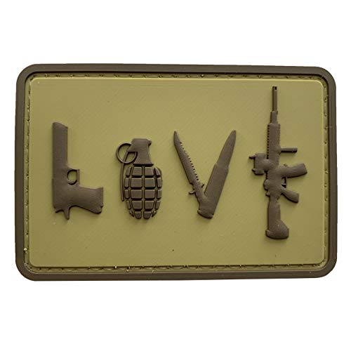 Love Symbol Sign Tactical PVC Morale Patch with Hook Fastener Backing by uuKen Tactical Gear (Coyote)