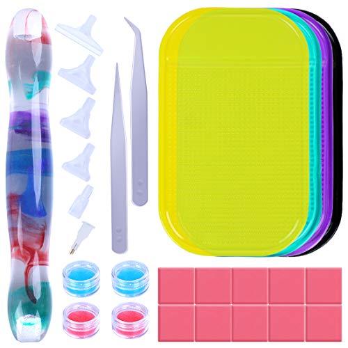 JAJUSTORE 5D Diamond Painting Kit Resin Ergonomic Diamond Painting Tool Handmade DIY Pen Kits Art Accessories for Kids/Adults