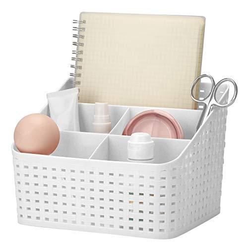 XQK Organizador De Maquillaje Organizador para Escritorio, DiseñO Cuadriculado Cesta De Almacenamiento De CosméTicos, para Guardar Maquillaje CosméTicos Productos De Belleza (Blanco)