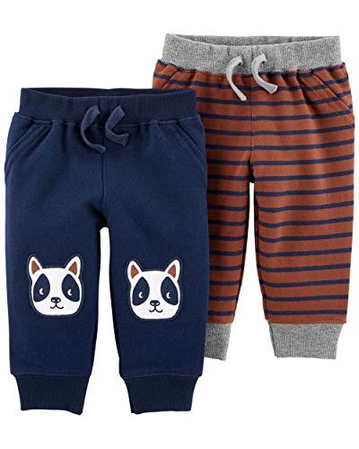 Carter's Baby Boys 2 Pack Pants, French Bulldog/Stripe, Newborn