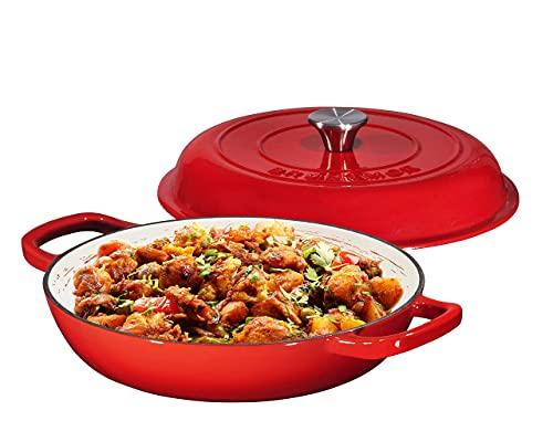 Bruntmor Enameled Nonstick Cast Iron Casserole Braiser Pan - 3.8-Quart Kitchen Round Casserole Dish Pan