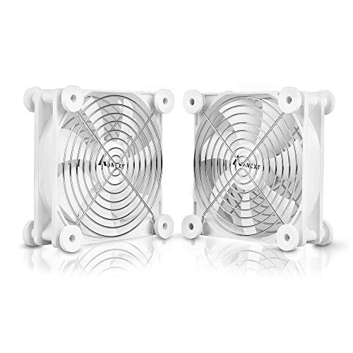 ANEXT, 120mm USB Fan, 120mm Fan, Silent Fan for Receiver DVR Playstation Xbox Computer Cabinet Cooling, 2 Packs(White)
