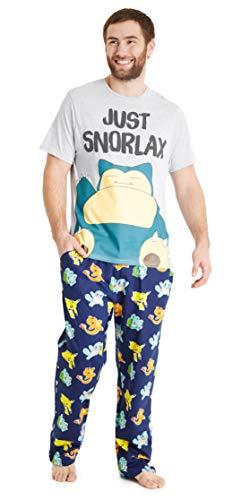 Pokemon Pijama Hombre, Pijamas Hombre Snorlax con Camiseta Manga Corta y Pantalon Largo en Algodon, Juego de Ropa Hombre Divertido, Regalos para Hombres y Adolescentes (Multi, XL)