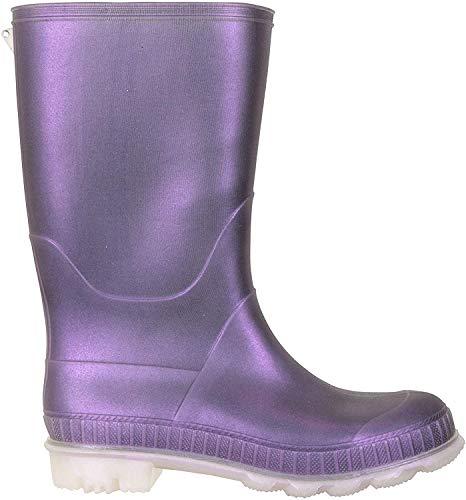Mountain Warehouse Einfarbige Kinder-Gummistiefel - PVC-Regenschuhe für den Außenbereich, strapazierfähige Sohlen, weiches Jerseyfutter Violett Kinder-Schuhgröße 27 DE