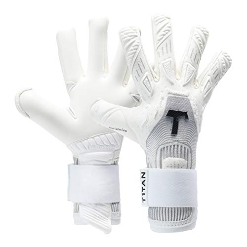 T1TAN Rebel White-Out Torwarthandschuhe für Erwachsene, Fußballhandschuhe Herren Innennaht und 4mm Profi Grip - Gr. 10