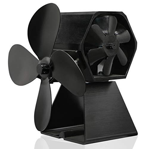 Nirmon Ventilador de Chimenea de EnergíA TéRmica de 4 Hojas Ventilador de Estufa de LeeA Accionado por Calor para Interior