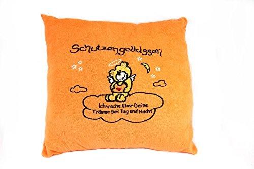 TE-Trend Pluche Kussen Sierkussen Kussen Slogan kussen geborduurd Guardian engel beer blauw rood oranje ORANJE