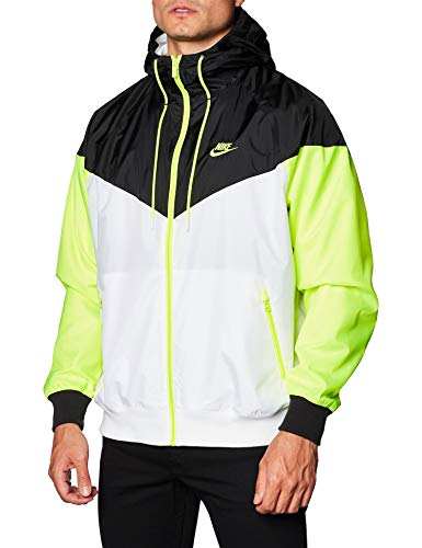 Nike Men's Sportswear Windrunner Hooded Windbreaker AR2191 (White/Black/Volt, S)