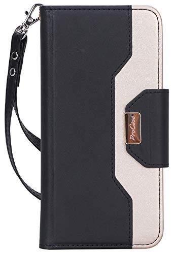 ProCase Google Pixel 3a XL-portemonnee-etui voor dames, stijlvolle folio-etui Flip Cover met kaarthouder Spiegel Hand polsbandje Riem - zwart