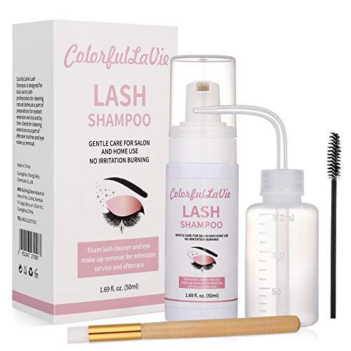 ColorfulLaVie Wimpernshampoo für Wimpernverlängerung, Wimpernschaum-Reiniger, Lash Shampoo Lash Wimpernpflege Wimpernbürste für Zuhause und Salon 50ml