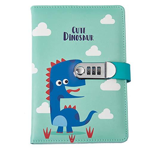 iLoveDeco Cuaderno de escritura de diario de cuero PU con candado codificado (Patrón animal), diario de viaje con contraseña A5, Bloc de notas diario con candado de combinación, 145x210mm