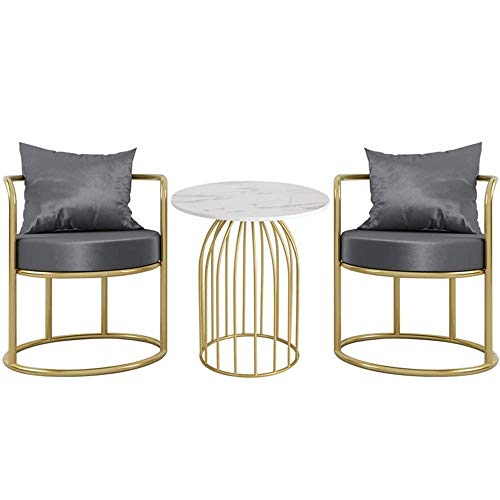 GRXXX Tisch- und Stuhlkombination, modern runde Seite Sound Tisch und Flanell Stuhl, für Familie oder Hotel Restaurant, blau,Grau,2 Chair + Table