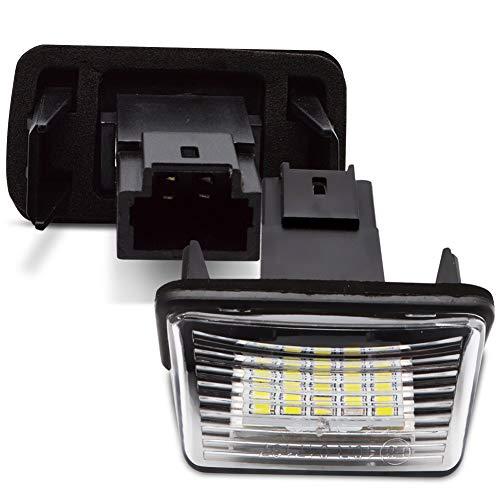LncBoc LED Luz de la matrícula para coche Lámpara Numero plato luces Bulbos 3W 12V 18SMD con CanBus No hay error 6000K Xenón Blanco frio para 206/207/306/307/308/406/407, 2 Piezas