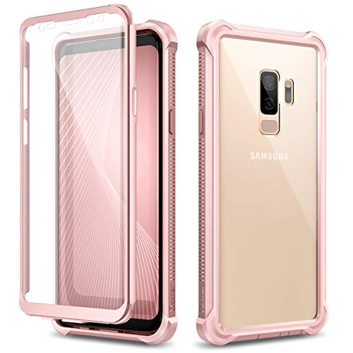 Dexnor Funda para Samsung Galaxy S9 Plus/S9+ Carcasa con Parachoques de Silicona de 360 Grados [A Prueba de Golpes] [Ligero] Panel Posterior Transparente Protector de Pantalla Incorporado - Rose