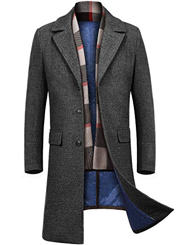 INVACHI Men's Slim Fit Winter Warm Long Wool Coat Business Jacket with Free Detachable Soft Touch Wool Scarf