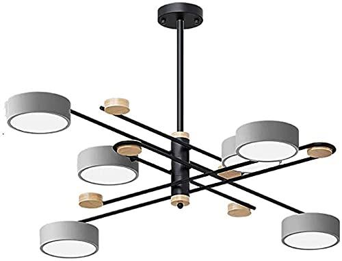 Lampadario a sputnik moderno con illuminazione a LED, metallo in legno ramificarsi lampada da soffitto a metà secolo con ombra rotonda grigia, per sala da pranzo soggiorno (Colore : Cold White)