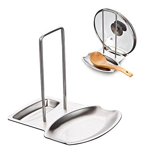 izoel soporte para tapa y cuchara resto organizador de cocina acero inoxidable fácil de instalar