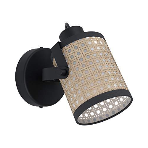 EGLO Wandlampe Ruscomb, 1 flammige Deckenlampe Vintage, Retro, Boho, Wandleuchte innen aus Stahl, Papier, Kunststoff, Wohnzimmerlampe, Flurlampe in Schwarz, Natur, Spot mit E27 Fassung