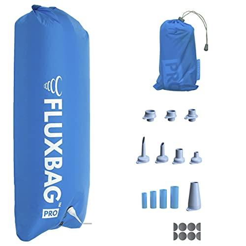 FLUXBAG Original 3.0 PRO 140L - Luftpumpe / Pumpsack zum Aufblasen von Isomatten, Luftmatratzen & Co. - Inkl. 13x radikal verbessertes Zubehör - Blau