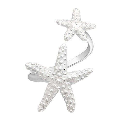 AeraVida Double Ocean Starfish Wrap .925 Sterling Silver Ring (8)