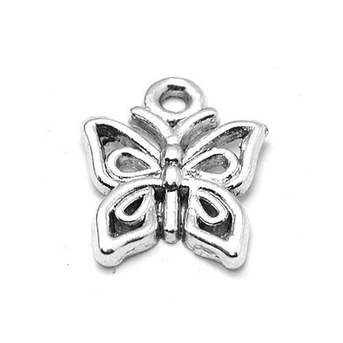 Packet of 30 x Antique Silver Tibetan 15mm Charms Pendants (Butterfly) - (ZX06390) - Charming Beads