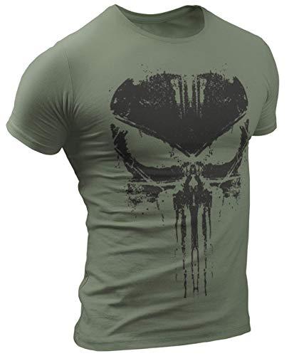 The Punisher T-Shirt Ultra Distressed Design verblasst #3047 (XL, Militargrün)