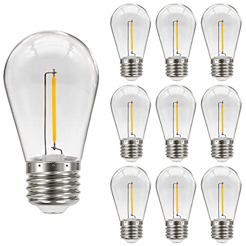 MZYOYO Pack de 10 Bombillas LED Edison S14 E27,1W,para cadena de Luces LED S14,Bombilla de Filamento Vintage,Plástico,2700K,Blanco Cálido,No Regulable,para Salón,Fiesta, Festival,Decoración de Navidad