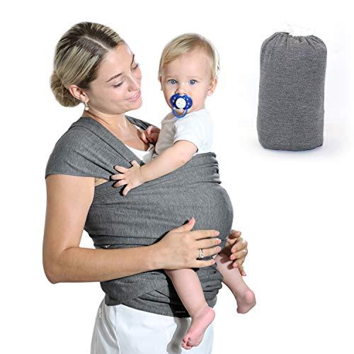 Fular Portabebés Elástico Gris Portador de Bebé, HyAdierTech Pañuelo de algodón, Porteo Seguro y Ergonómico Durante la Lactancia, Unisex, Para padres