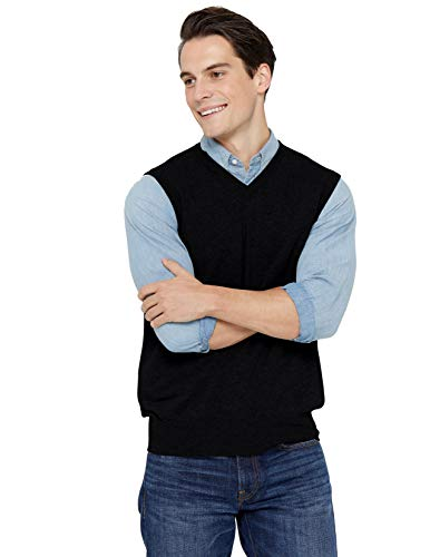 State Cashmere Men's Classic Sleeveless Sweater Vest 100% Pure Cashmere V-Neck Style Pullover (Large, Black)