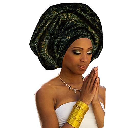 Deylaying Pañuelo para la Cabeza Bufanda Africana Algodón para Mujeres Accesorios para el Cabello Turbante 70 pulgadas