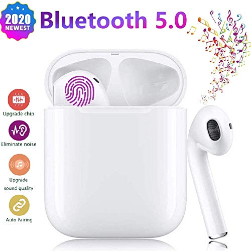 Auriculares Bluetooth Inalámbricos TWS i12 3D Estéreo, Wireless Auriculares Deportes Touch-Control Pop-up Auto Pairing IPX7 Impermeables-Blanco